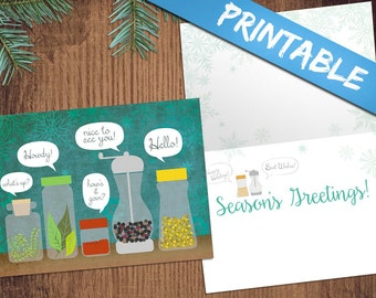 Season's Greetings Humor Clever Word Play Christmas Holiday Greeting Card - Print-Your-Own Digital PDF file!