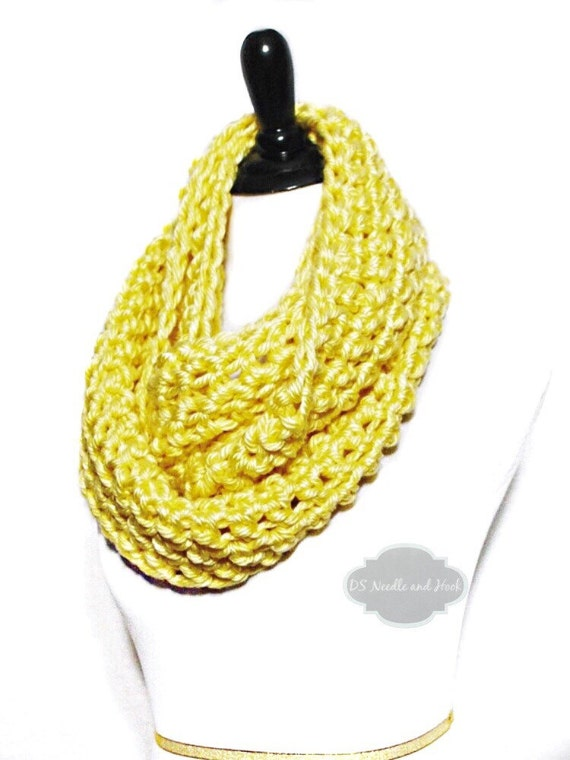 Yellow Crochet Infinity Scarf, Long Draped Cowl, Yellow Neck Warmer  - Gold, Light Yellow