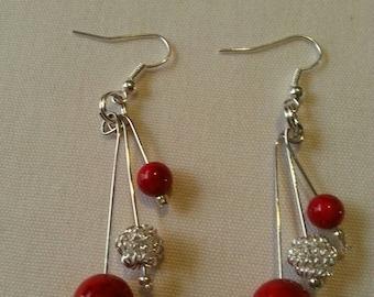 Red & Silver Dangling Earrings
