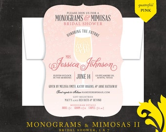 MONOGRAMS & MIMOSAS II . bridal shower invitation
