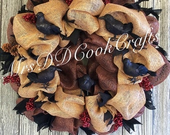 Wreath, Primitive Wreath, Primitive Wreaths, Burlap Wreath, Primitive Crow, Primitive Crow Wreaths, Bird Wreaths, Burlap Wreaths