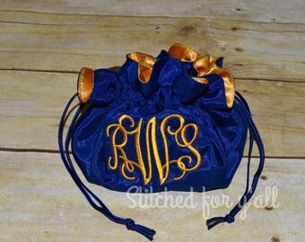 Monogrammed Drawstring Jewelry Pouch