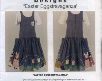 Free Us Ship BottomLine Designs Designer Jackie Boroff Easter Eggstravaganza Whimsey Trim Skirt Dress Apron Jumper Craft Sewing Pattern