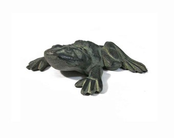 """Large Vintage Cast Iron Frog, 8"""" Long, 8.5"""" Wide, Great Character and Expression, Doorstop or Garden Frog, Stamped Numbered, Pristine"""