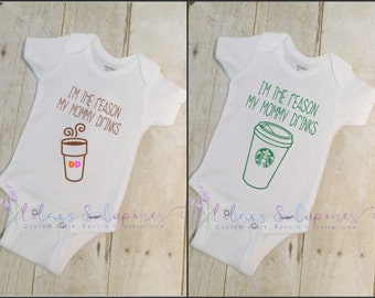 I'm The Reason Mommy Drinks Coffee Bodysuit | Baby Shower Gift | Baby Bodysuit | Love Coffee  New Mommy  New Mom