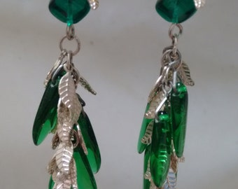 Czech glass and leaf chain earrings