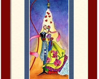 Jewish wedding gift 'Cherish' Art PRINT Romantic Judaica wall art