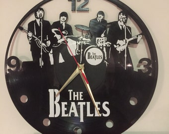 """The Beatles vinyl record wall clock - upcycled from an original 12"""" vinyl record"""