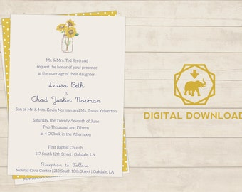 Sunflower Wedding/Party Invitation Printable