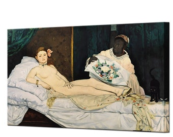 Olympia Edouard Manet Canvas Wall Art Print Framed Ready To Hang Decor