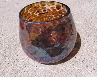 Amber and metallic votive holder