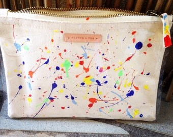 Handpainted clutch, handmade with love!