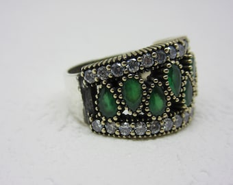 Turkish Handmade 925K Sterling Silver Emerald Topaz Ring Size 7,3