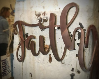 36 inch *Faith* Metal Wall Sign