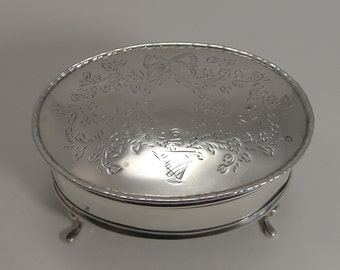 Pretty Vintage Sterling Silver Jewelry Box - Basket of Flowers