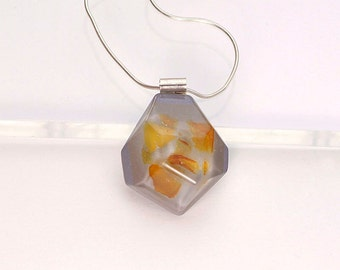 Amber necklace, Amber chain necklace, Amber resin necklace, Resin pendant necklace, Grey Resin pendant, Amber pendant, Saint Valentine gift