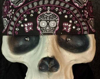 Sugar skull velcro headband with Swarovski crystals