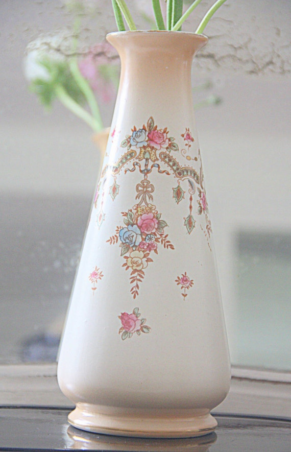 Rare Antique Devon Ware 'Perth' Semi-porcelain Vase, Flower Pattern, Handpainted, Edwardian Style,England