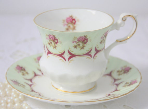 Vintage Queens Rosina Bone China Cup and Saucer, Pink Rose and Burgundy Red Panel Decor, England