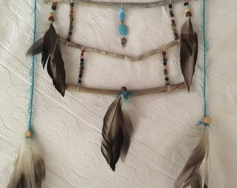 Beads and Feathers Wall Hanging