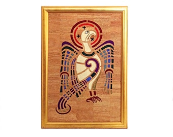 Cork leather/cork fabric and silk wall panel/picture of the symbol for St John