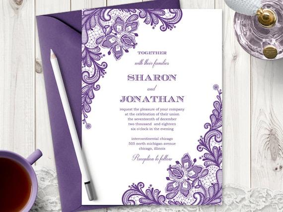 Wedding Invitation Vintage Lace Purple DIY