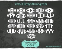 Oval Circle Monogram in .SVG .EPS .DXF & .Studio3 formats Craft Cut Die Cutters Digital Vector Files Instant Download