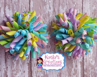 Korker Hair Bows,Easter Colors Corker Hair Bows,Corker Hair Bows,Light Colors Corker Hair Bows, Easter Hair Bows, Colorful Corker Hair Bows.