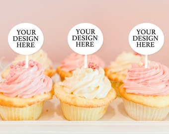 Cupcakes Mockup, Party Styled Stock Photography, Party Toppers Mockups