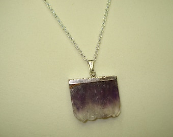 Rough Cut, Genuine Slice of Amethyst Pendant with Chain 18""