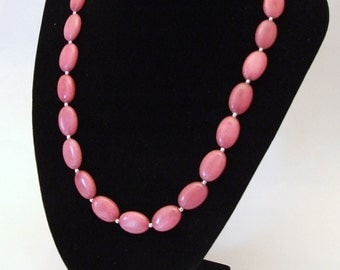 Pink Jade and Silver Necklace