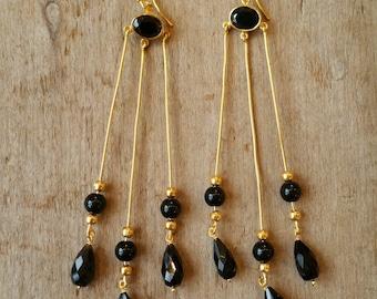 Long Black Spinel Earrings