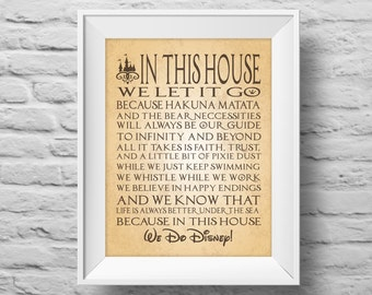 IN THIS HOUSE...Disney inspired unframed art print Typographic poster, inspirational print, wall decor, quote art. (R&R0108)
