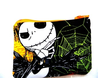 coin purse with skeleton and spider web