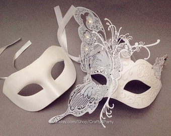 Venetian Carnival Metal White Butterfly masquerade mask Wedding Anniversary party