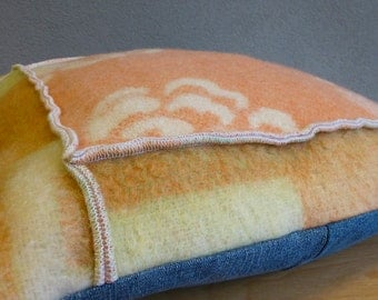 Pillowcase made out of woolen blankets and denim