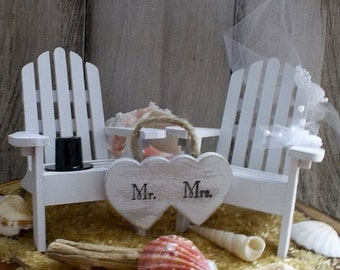 Beach Wedding Cake Topper, Adirondack Chair, Destination Wedding, Seaside Wedding Cake,  Nautical Wedding, Beach Theme, Coastal Wedding,