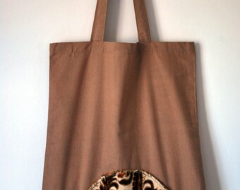 Cotton Tote Bag with vintage brocade textile detail