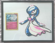 Pixel Mini Hama/Perler Bead Pokemon Shiny Gardevoir with Holo Ancient Origins Card (Framed)