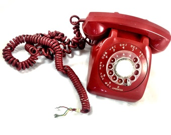 Automatic Electric Vintage Red Rotary Phone