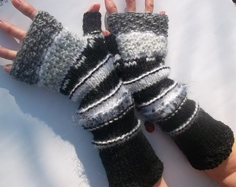 HAND KNITTED GLOVES / Fingerless Mittens Women Cabled Romantic Gift Arm Warm Accessories / Elegant Feminine Wrist Warmers Winter Chic 770