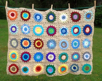 Adorable Granny Square Lap or Baby Blanket 3.5 x 2.5 Feet. Random, Funky, Vintage Look and Feel. Gender Neutral, Perfect For All!