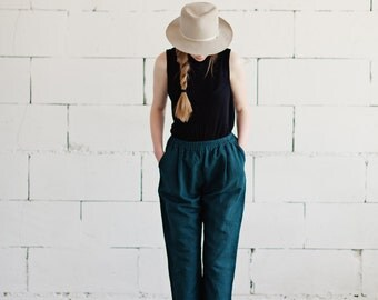 100% Linen Green Trousers, hand made in London, sustainable, artisan, fashion