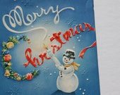 Vintage Embossed Snowman Christmas Card, Unused Blue Christmas Card, 1950s 50s old Cute Holiday Card, Mint with envelope