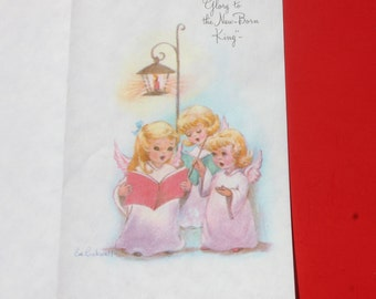 Vintage Angel Choir Christmas Card by Eve Rockwell, Singing Cherub Angels, Unused Christmas Card, Parchment Stock Christmas Card