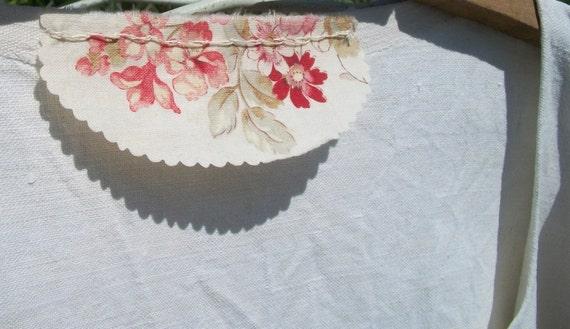 Beautiful Vintage French Smock Oatmeal Cream Linen Embellished Boho Tunic  handmade dress