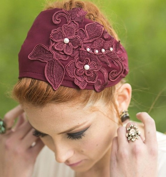 Winter Hair/Maroon Flower Headband/Burgundy Wine Colored Tichel/Floral Applique/Valentine's Day Wife/Elegant Gift For Her/Church Hair Cover