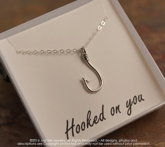 Fish Hook Necklace - Hoop Pendant - Sterling Silver - Fishing Necklace - Hooked on you