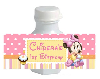 30 Minnie Mouse Birthday Party Baby Shower Mini Bubble Stickers Labels