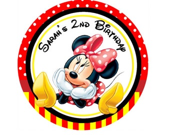 Minnie Mouse Red, black Personalized Stickers, round labels